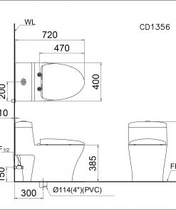 Bàn cầu 1 khối nắp êm Caesar CD1356